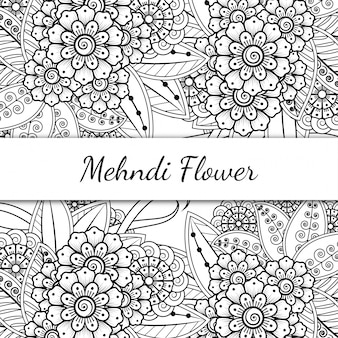 Decorazione floreale mehndi in stile etnico orientale, indiano. ornamento di doodle. illustrazione di tiraggio della mano di contorno.