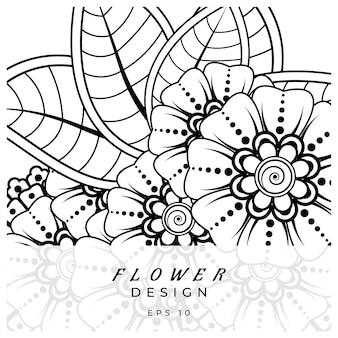 Ornamento decorativo fiore mehndi in stile etnico orientale doodle ornamento contorno disegno a mano