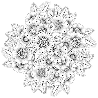 Fiore mehndi in stile etnico orientale. ornamento di doodle. illustrazione di tiraggio della mano di contorno. pagina del libro da colorare.