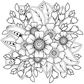 Fiore mehndi per l'henné isolato su bianco