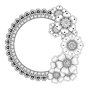 Fiore mehndi per henné, mehndi, decorazione. ornamento decorativo in stile etnico orientale. ornamento di doodle. illustrazione di tiraggio della mano di contorno. pagina del libro da colorare.