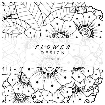 Fiore mehndi per la pagina del libro da colorare della decorazione del tatuaggio mehndi all'henné