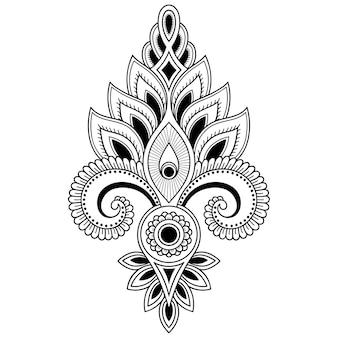 Fiore mehndi e mandala. decorazione in stile etnico orientale, indiano. ornamento di doodle. illustrazione di tiraggio della mano di contorno.