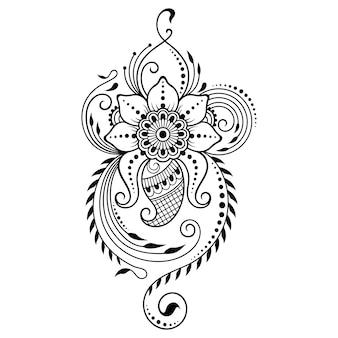 Motivo floreale mehndi. decorazione in stile etnico orientale, indiano. ornamento doodle. illustrazione di tiraggio della mano di contorno.