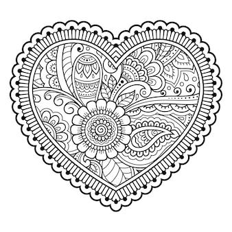 Motivo floreale mehndi a forma di cuore. decorazione in stile etnico orientale, indiano.