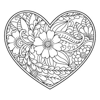 Motivo floreale mehndi a forma di cuore per disegno all'henné. decorazione in stile etnico orientale, indiano.