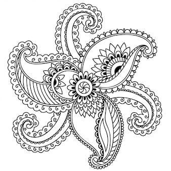 Motivo floreale mehndi per disegno all'henné. decorazione in stile etnico orientale, indiano. ornamento doodle. disegna il disegno a mano.