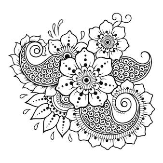 Motivo floreale mehndi e mandala. decorazione in stile etnico orientale, indiano. ornamento di scarabocchio. illustrazione di tiraggio della mano del profilo.