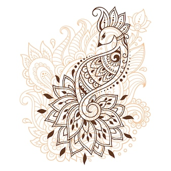 Motivo floreale mehndi con pavone per disegno e tatuaggio all'henné. decorazione in stile etnico orientale, indiano. ornamento di scarabocchio. illustrazione di vettore di tiraggio della mano di contorno.