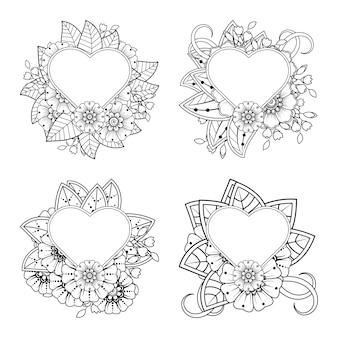 Fiore mehndi con cornice a forma di cuore decorazione floreale mehndi in stile etnico orientale da colorare