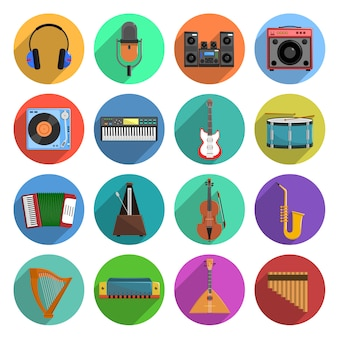 Set di icone di musica e melodia