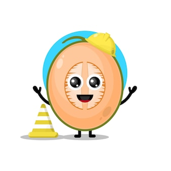 Simpatico personaggio mascotte dell'operaio edile di melone