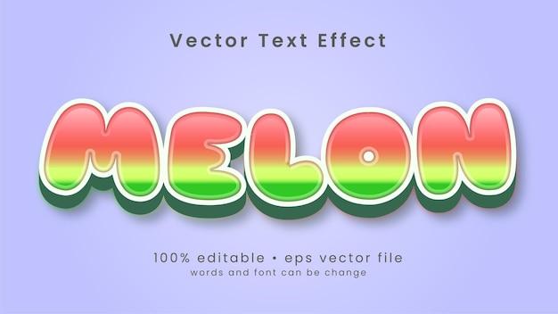 Stile di effetto testo di melone frutta Vettore Premium