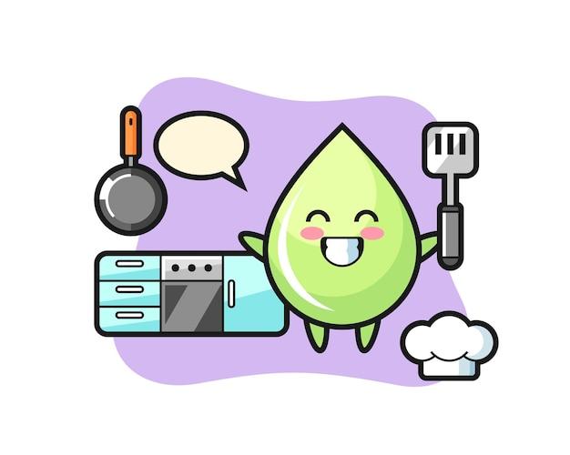 Illustrazione del personaggio con goccia di succo di melone mentre uno chef cucina, design in stile carino per maglietta, adesivo, elemento logo