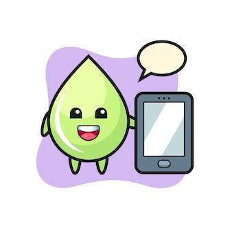 Fumetto dell'illustrazione della goccia di succo di melone che tiene uno smartphone, design in stile carino per maglietta, adesivo, elemento logo