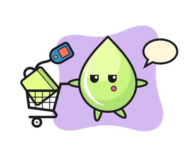 Fumetto dell'illustrazione della goccia di succo di melone con un carrello della spesa, design in stile carino per maglietta, adesivo, elemento logo