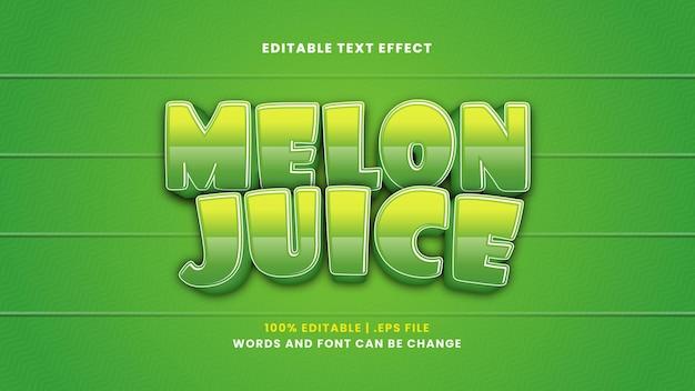 Effetto testo modificabile succo di melone in moderno stile 3d