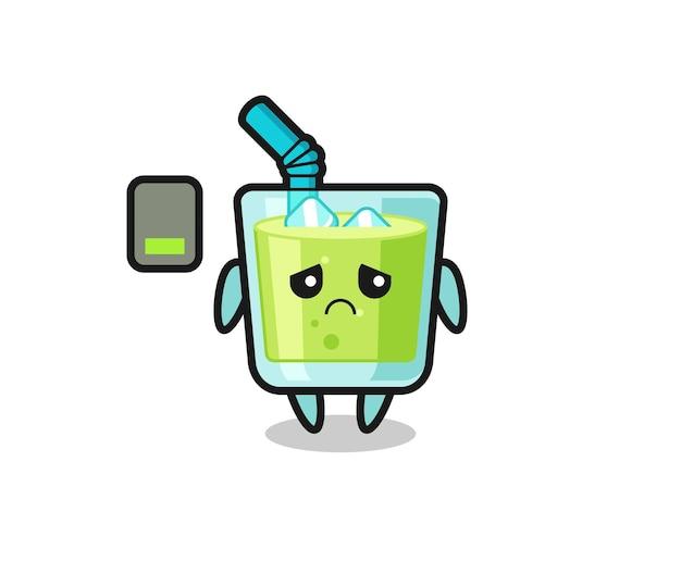 Personaggio mascotte del succo di melone che fa un gesto stanco, design in stile carino per maglietta, adesivo, elemento logo