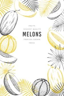 Meloni con modello di banner di foglie tropicali