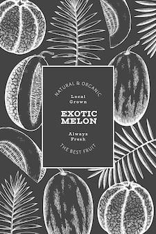 Meloni con modello di progettazione di foglie tropicali. illustrazione di frutta esotica di vettore disegnato a mano sulla lavagna. banner di frutta in stile retrò.