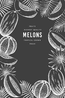 Modello di progettazione di meloni con foglie tropicali