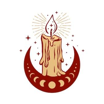 Candela che si scioglie su un'illustrazione a mezzaluna per simbolo di design boho mistico a tema esoterico