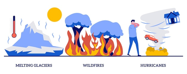 Ghiacciai in fusione, incendi, concetto di uragani con persone minuscole. insieme dell'illustrazione di vettore dell'estratto di disastro naturale. innalzamento del livello del mare, riscaldamento globale, incendi boschivi, metafora della tempesta tropicale.