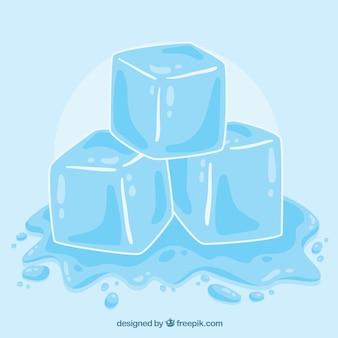 Cubetto di ghiaccio di fusione con stile disegnato a mano