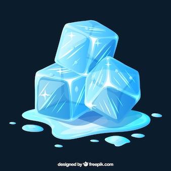 Cubetti di ghiaccio in fusione con design piatto