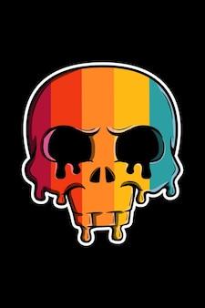 Illustrazione del cranio di fusione retrò vintage