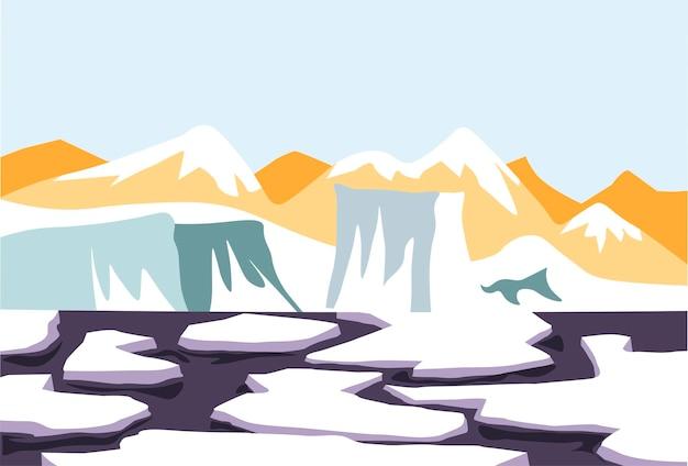 Neve che si scioglie su ghiaccio d'acqua e disgelo del ghiacciaio vettore