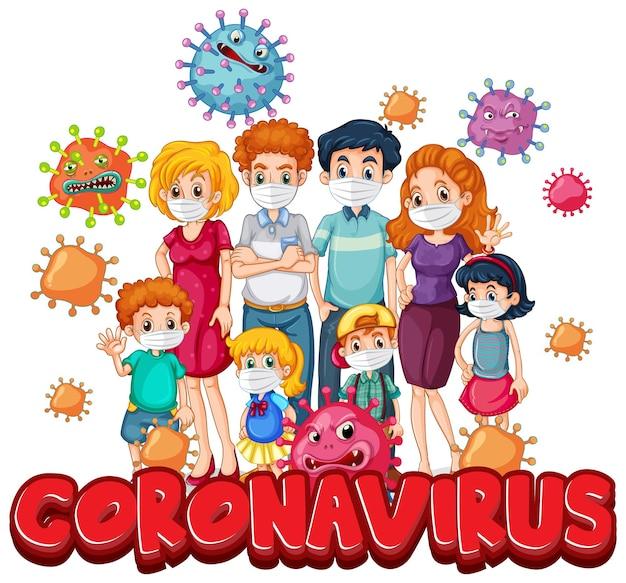 Membri della famiglia che indossano una maschera con il carattere del coronavirus