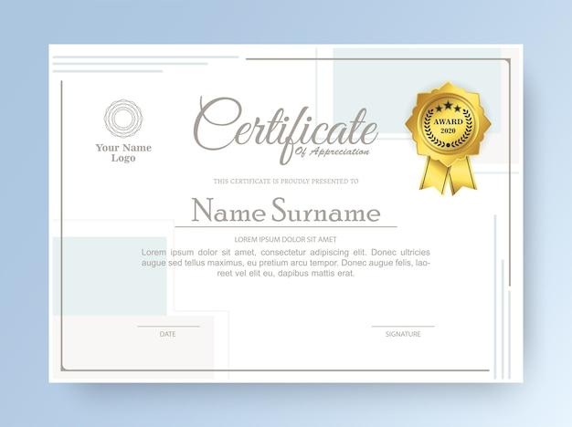 Certificato di appartenenza miglior diploma premio
