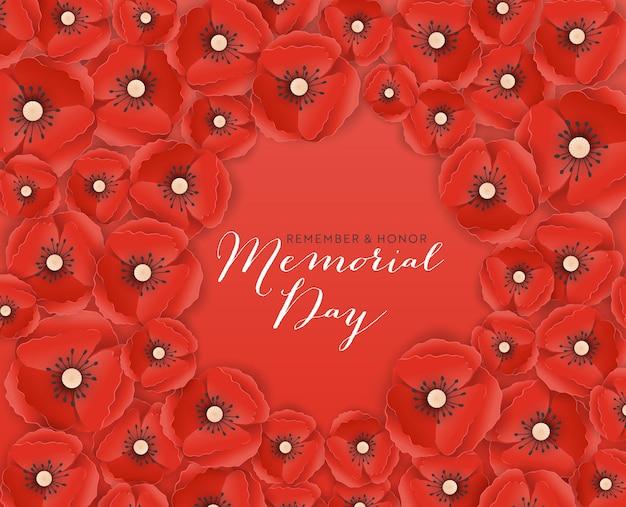 Banner del memorial day con fiori di papavero tagliati in carta rossa. poster del giorno della memoria con il simbolo dei papaveri a pezzi per volantini, brochure, depliant. illustrazione vettoriale