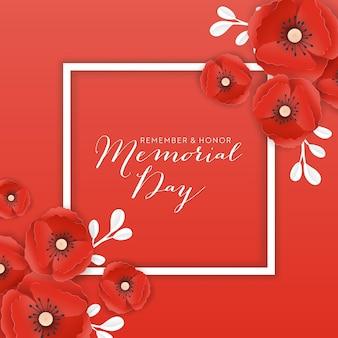 Banner del memorial day con fiori di papavero tagliati in carta rossa. poster del giorno della memoria con il simbolo dei papaveri a pezzi per volantini, brochure, depliant. illustrazione vettoriale Vettore Premium