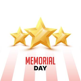 Giorno della memoria. biglietto di auguri con bandiera usa e stelle sullo sfondo.