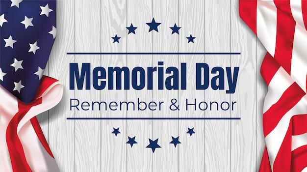 Memorial day - ricorda e onora con la bandiera usa su un tavolo bianco. illustrazione.