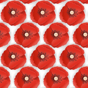 Reticolo senza giunte del memorial day con carta ritagliata fiori di papavero rosso. papaveri sfondo simbolo di piece remembrance anzac day. illustrazione vettoriale Vettore Premium