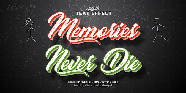 I ricordi non muoiono mai testo, pennello ed effetto di testo modificabile in stile vintage