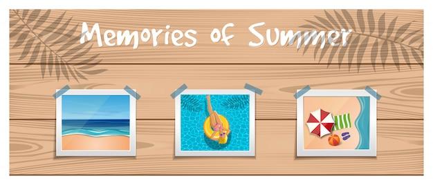 Ricordi dell'estate. le foto sul riposo estivo sono attaccate con un nastro adesivo alla tavola di legno.