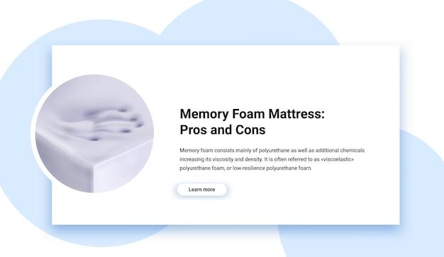 Materassi memory foam pro e contro illustrazione realistica
