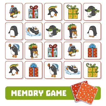 Gioco di memoria per bambini, carte con pinguini e regali di natale