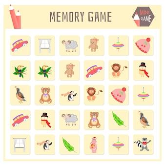Gioco di memoria per bambini, grafica vettoriale di mappe animali.