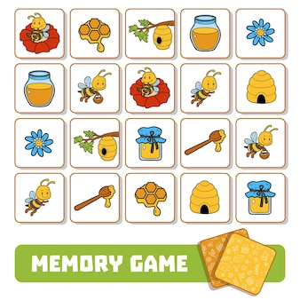 Gioco di memoria per bambini in età prescolare, carte vettoriali su api e miele