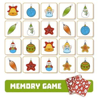 Gioco di memoria per bambini in età prescolare, carte vettoriali con giocattoli dell'albero di natale