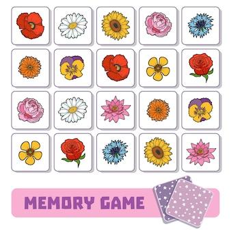 Gioco di memoria per bambini in età prescolare, carte vettoriali con fiori