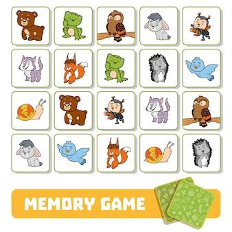 Gioco di memoria per bambini in età prescolare, carte vettoriali con animali della foresta
