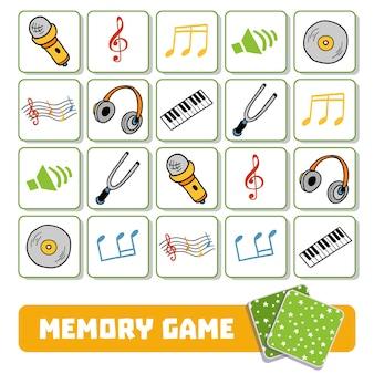 Gioco di memoria per bambini in età prescolare, carte vettoriali con oggetti musicali
