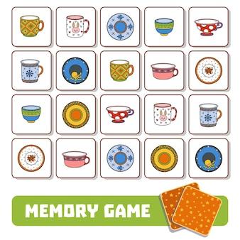 Gioco di memoria per bambini in età prescolare, carte vettoriali con piatti e tazze