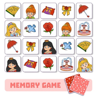 Gioco di memoria per bambini in età prescolare, carte vettoriali con principessa e oggetti